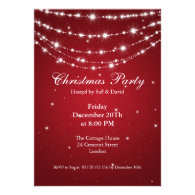 Party Invitation Elegant Sparkling Chain Red
