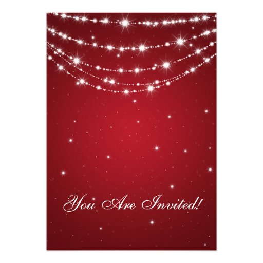 Party Invitation Elegant Sparkling Chain Red Personalized Announcement (back side)