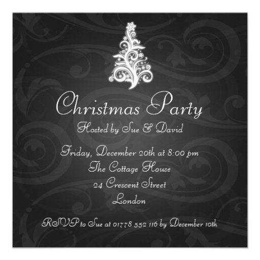 Party Invitation Elegant Swirly Tree Black Invites