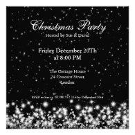 Party Invitation Elegant Winter Sparkle Black