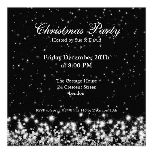Party Invitation Elegant Winter Sparkle Black Personalized Invite