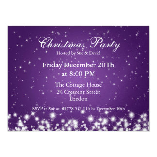 Party Invitation Elegant Winter Sparkle Purple