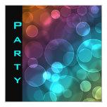 Party Invitation Feathers Black Blue Bubbles Personalized Announcement
