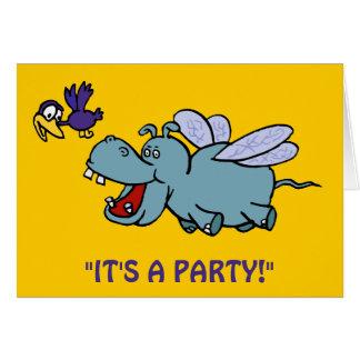 Party Invitation:  Flying Hippo & Bird Card