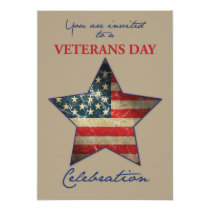 Party Invitation for Veterans Day, Old Flag Star