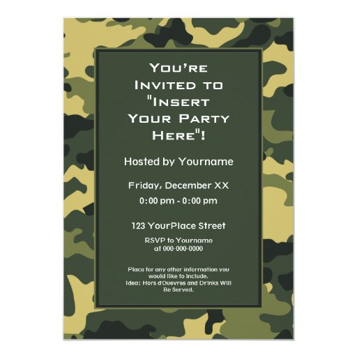 Party Invitation: Green Military Camouflage 5x7 Paper Invitation Card