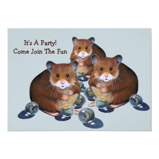 Party Invitation: Hamsters, Marbles: Join The Fun! 5x7 Paper Invitation Card