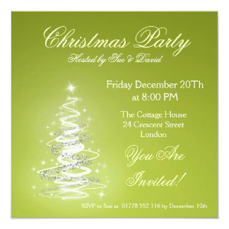 Party invitation lime green with Christmas Tree
