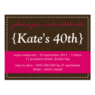Party Invitation No 1 hot pink Postcards
