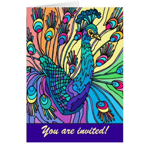 Party Invitation: Peacock Shows Its Feathers Card