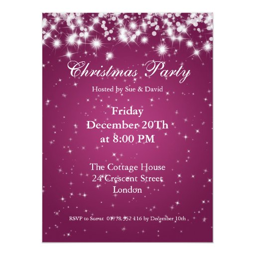 Party Invitation Pink Elegant Sparkle Custom