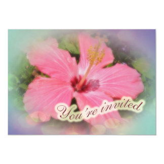 Party Invitation - Pink Hibiscus Flower