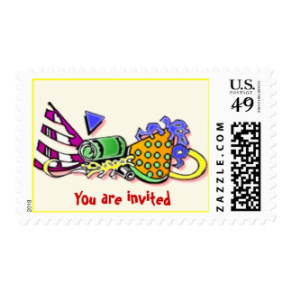 party invitation postage -balloons -