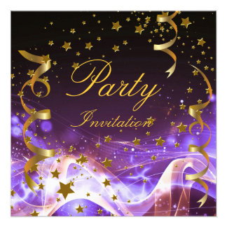 Party Invitation Purple Gold Stars Streamers Personalized Announcements