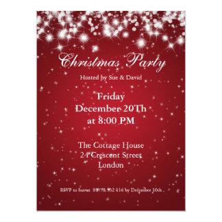 Party Invitation Red Elegant Sparkle Custom Custom Announcement