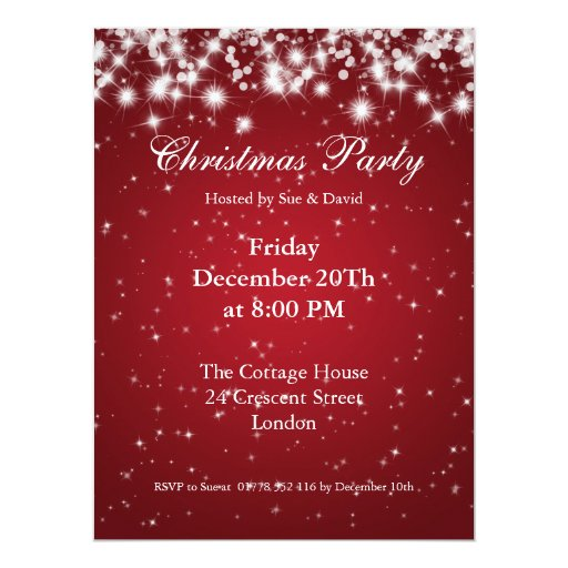 Party Invitation Red Elegant Sparkle Custom