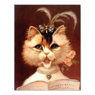 Party Invitation Singing Victorian Parlor Cat