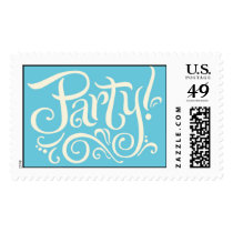 Party Invitation Stamps Cream on Aqua