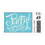 Party Invitation Stamps Cream on Aqua