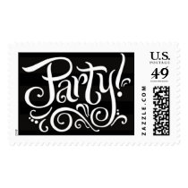 Party Invitation Stamps White on Black