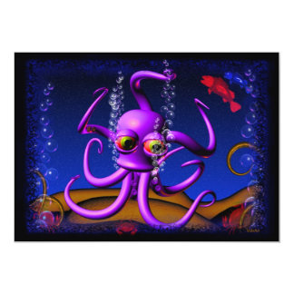 "Party invitation template with funny octopus 5"" x 7"" invitation card"