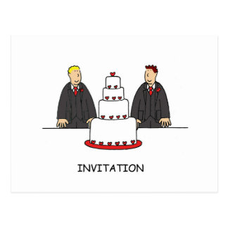 Party invitation two grooms gay civil union. postcard