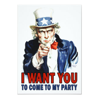 Party Invitation: Vintage Uncle Sam 5x7 Paper Invitation Card