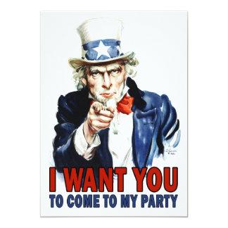 Party Invitation: Vintage Uncle Sam Card