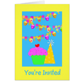 Party Invitation With Cupcake