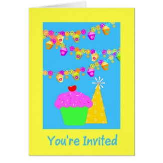 Party Invitation With Cupcake Greeting Card