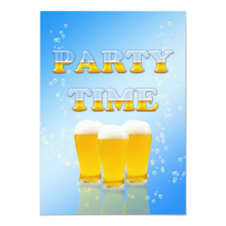 Party invitation with glasses of beer