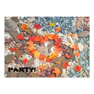 PARTY! Invitations Heart Leaves Rock Garden