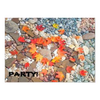 "PARTY! Invitations Heart Leaves Rock Garden 5"" X 7"" Invitation Card"