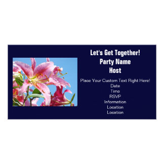 Party Invitations Lily Flowers Let's Get Together Custom Photo Card