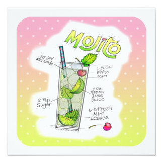 PARTY INVITATIONS - MOJITO RECIPE COCKTAIL ART