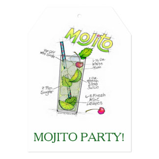 PARTY INVITATIONS - MOJITO RECIPE COCKTAIL ART