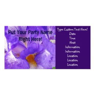 Party Invitations! Purple Iris Flower Summer Fun Photo Card