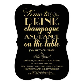 Party Invitations | Time to Drink Champagne Card
