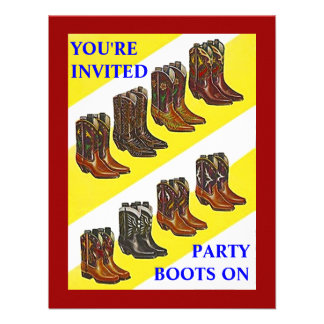 PARTY INVITE ~ BOOTS ON ~ Western style INVITATION