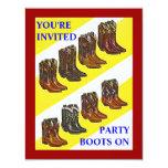 "PARTY INVITE ~ BOOTS ON ~ Western style INVITATION 4.25"" X 5.5"" Invitation Card"