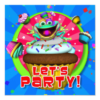 """Party Invite- """"Let's Party!"""" with Fribbets 5.25"""" Square Invitation Card"""