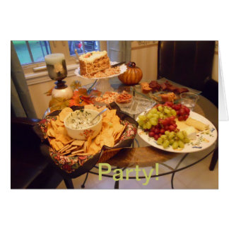 Party Invite with photo of Fall food items