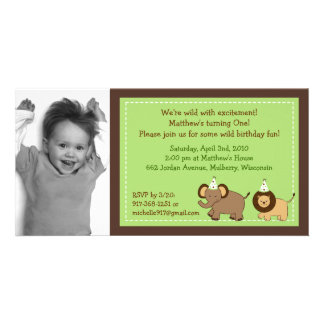 Party Jungle Animal Photo Birthday Invitations