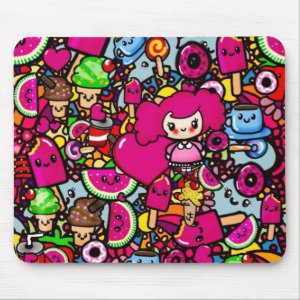 Party Kawaii Pattern exclsuive to here - add name Mouse Pad