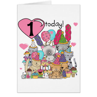 Party Kittens 1st Birthday Tshirts and Gifts Card