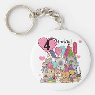 Party Kittens 4th Birthday T-shirts and gifts Basic Round Button Keychain