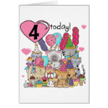 Party Kittens 4th Birthday T-shirts and gifts Greeting Cards