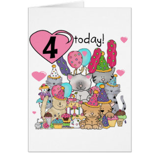 Party Kittens 4th Birthday T-shirts and gifts Card