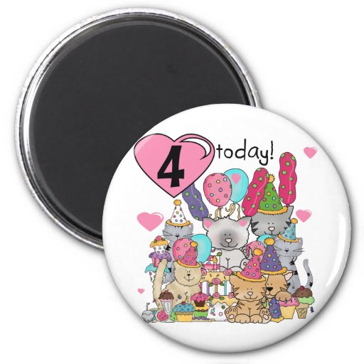 Party Kittens 4th Birthday T-shirts and gifts Refrigerator Magnet