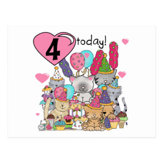 Party Kittens 4th Birthday T-shirts and gifts Postcard